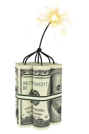dinamita: Dinamita compuesta por billetes de d�lar con una mecha ardiendo de alta resoluci�n de imagen 3D