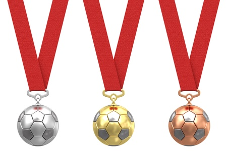 Gold, silver and bronze soccer ball with red ribbons on white background  High resolution 3D image photo