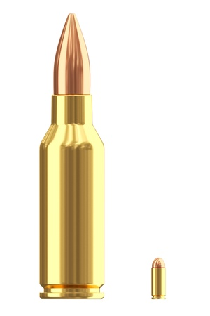 Big and small ammunition cartridges isolated on white  High resolution 3D image Archivio Fotografico