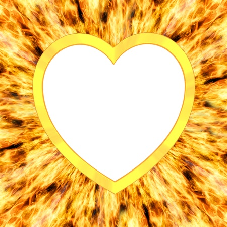 Blank heart shaped frame on flame background  High resolution 3D image photo