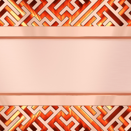 Blank bronze plate on maze background with flame  High resolution 3D image photo