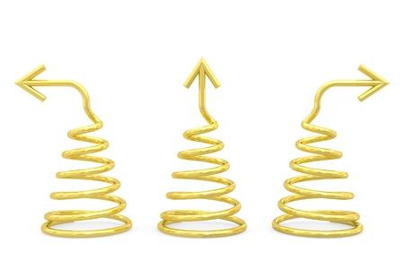 bobina: Espirales de oro con diferentes flechas de dirección fondo blanco Imagen 3D de alta resolución en