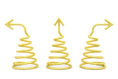 spirale: Goldene Spiralen mit verschiedenen Richtung Pfeile auf weißem Hintergrund Hochauflösende 3D-Bild