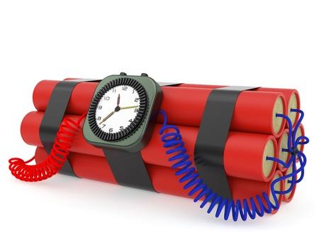 detonator: Time bomb with dynamite and clock detonator on white background. High resolution 3D image