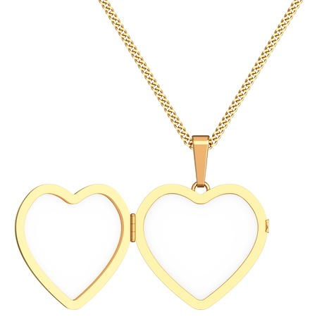 Gold heart shaped locket on chain isolated on white background. High resolution 3D image Archivio Fotografico