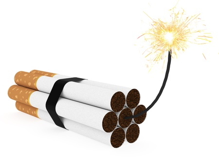Dynamite composed of cigarettes with burning wick on white background. High resolution 3D image  photo