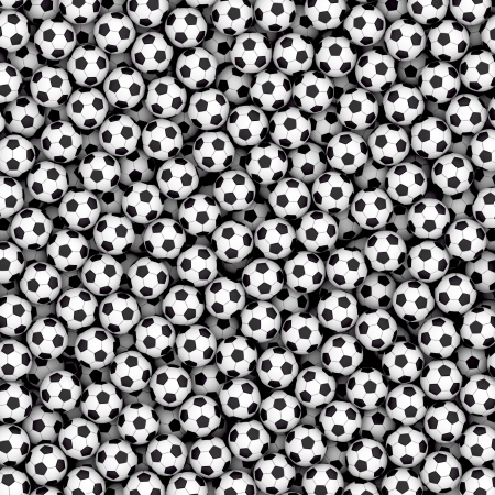 rubber ball: Background composed of many soccer balls. High resolution 3D image Stock Photo