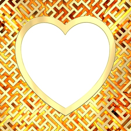 Blank heart shaped frame on maze background with flame. High resolution 3D image photo
