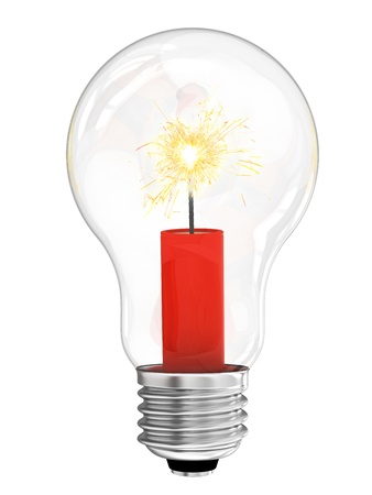 tnt: Lightbulb with dynamite with burning wick inside. High resolution 3D image