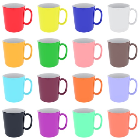Set of colorful ceramic cups isolated on white. High resolution 3D image photo