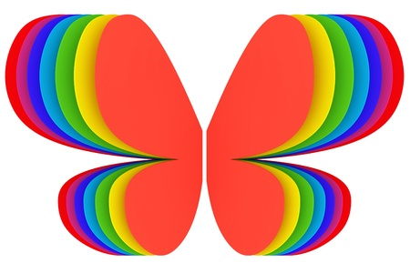Butterfly shape symbol of rainbow colors on white background. High resolution 3D image photo