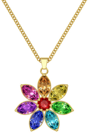 Gold pendant with colorful gemstones on chain isolated on white background. High resolution 3D image photo