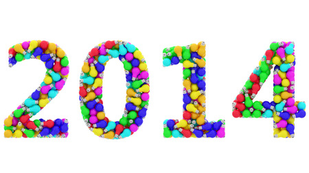 2014 digits composed of colorful lightbulbs isolated on white background. High resolution 3D image photo