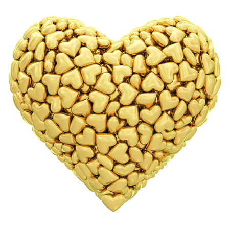 golden heart: Heart shape composed of many golden hearts isolated on white  High resolution 3D image