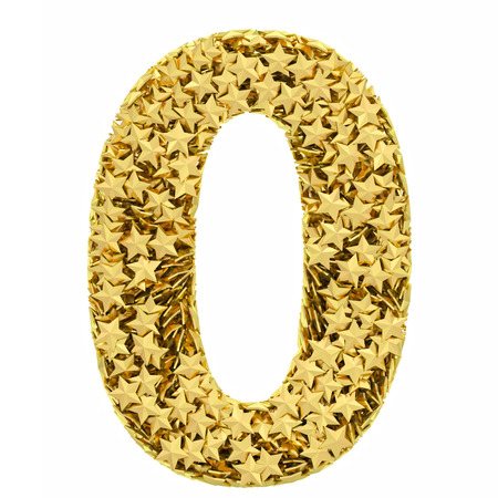 Number 0 composed of golden stars isolated on white  High resolution 3D image photo