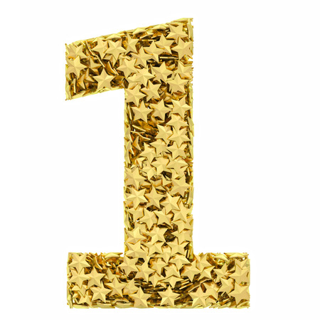Number 1 composed of golden stars isolated on white  High resolution 3D image photo