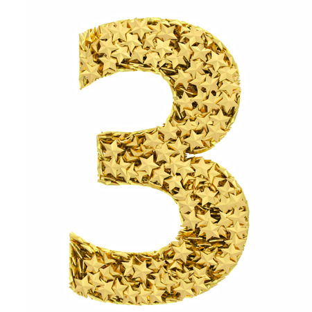 Number 3 composed of golden stars isolated on white  High resolution 3D image