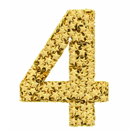 4 star: Number 4 composed of golden stars isolated on white  High resolution 3D image
