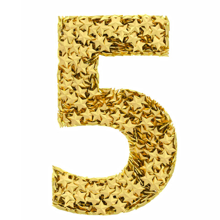 Number 5 composed of golden stars isolated on white  High resolution 3D image photo