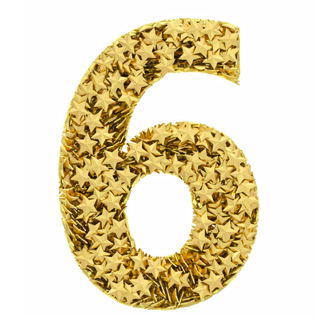 Number 6 composed of golden stars isolated on white. High resolution 3D image photo