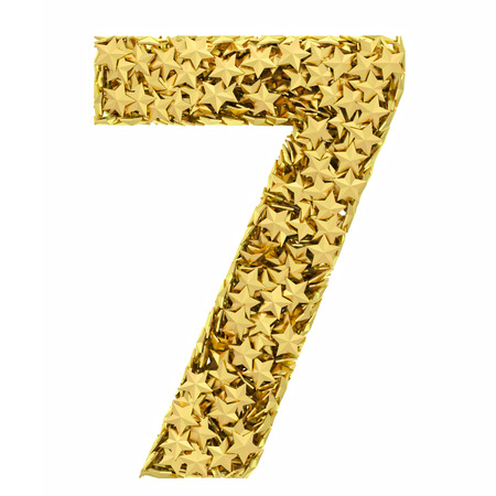 Number 7 composed of golden stars isolated on white. High resolution 3D image