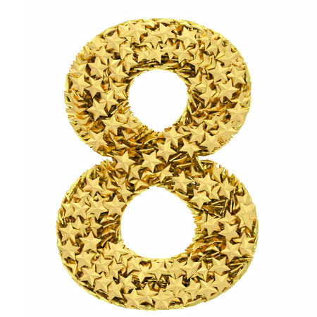 Number 8 composed of golden stars isolated on white. High resolution 3D image photo