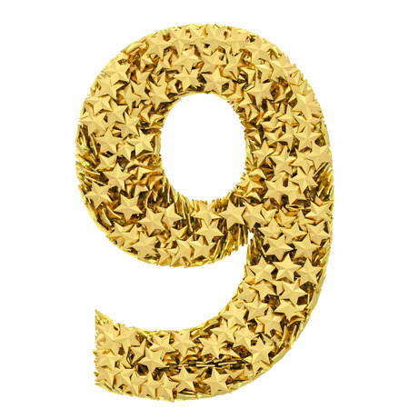 Number 9 composed of golden stars isolated on white. High resolution 3D image  photo
