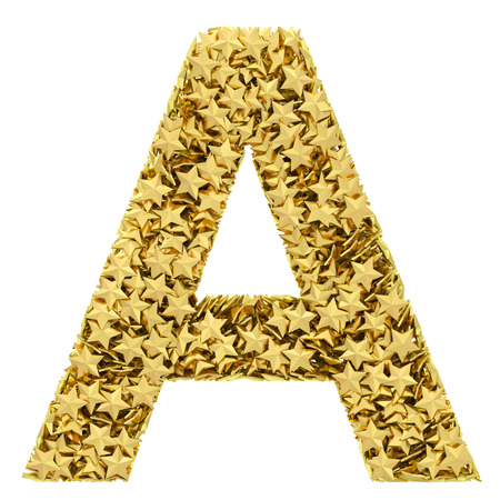 Letter A composed of golden stars isolated on white. High resolution 3D image photo
