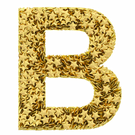 composed: Letter B composed of golden stars isolated on white. High resolution 3D image