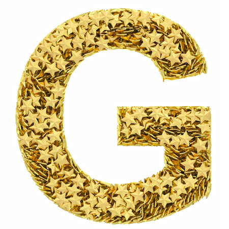Letter G composed of golden stars isolated on white. High resolution 3D image photo