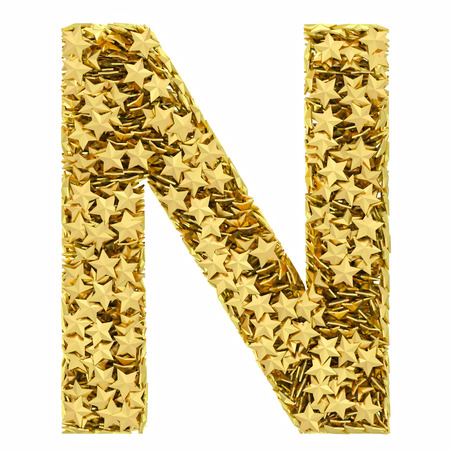 composed: Letter N composed of golden stars isolated on white. High resolution 3D image