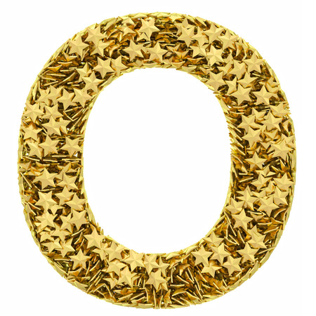 english letters: Letter O composed of golden stars isolated on white. High resolution 3D image