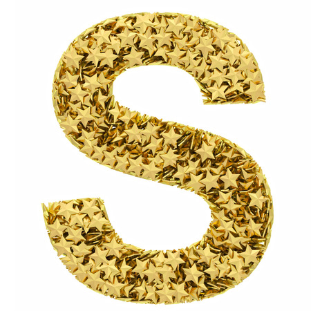 Letter S composed of golden stars isolated on white. High resolution 3D image photo