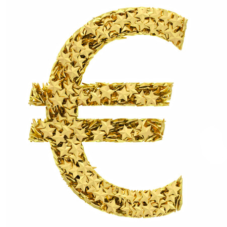 Euro sign composed of golden stars isolated on white. High resolution 3D image  photo