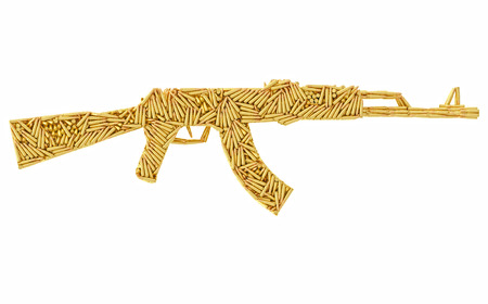 Assault rifle shape composed of ammunition cartridges isolated on white. High resolution 3D image
