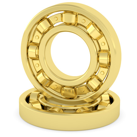 Golden bearings on white. High resolution 3D image rendered with soft shadows photo