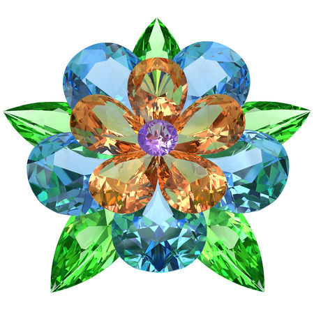precious stone: Flower composed of colored gemstones isolated on white. High resolution 3D image