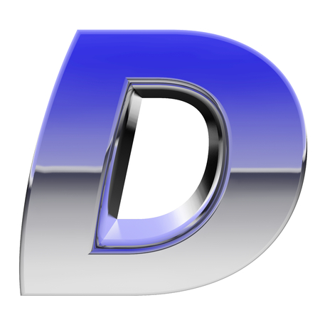 letter d: Chrome alphabet symbol letter D with color gradient reflections isolated on white. High resolution 3D image