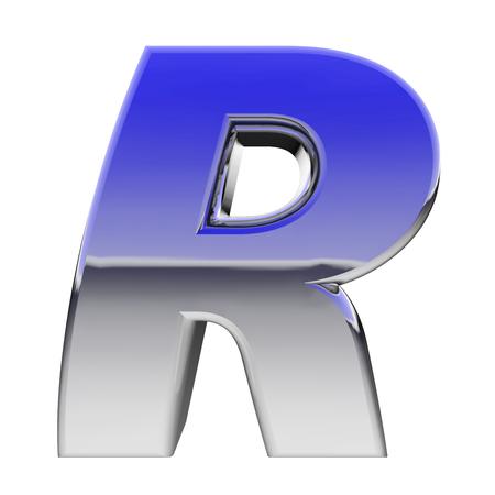 r image: Chrome simbolo alfabeto lettera R con riflessi gradiente di colore isolati su bianco. Immagine ad alta risoluzione 3D Archivio Fotografico