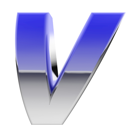 v alphabet: Chrome alphabet symbol letter V with color gradient reflections isolated on white. High resolution 3D image