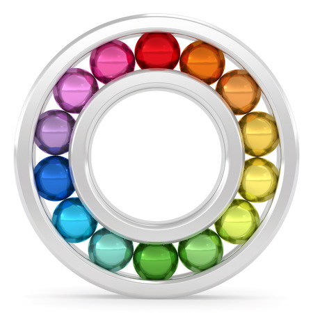 friction: Bearing with colorful balls on white background. High resolution 3D image rendered with soft shadows Stock Photo