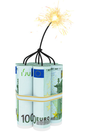 burning time: Dynamite composed of euro bills with a burning wick. High resolution 3D image Stock Photo