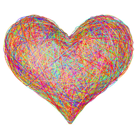 Heart shape composed of colorful striplines isolated on white. High resolution 3D image Stock Photo