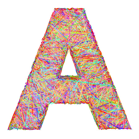 composed: Alphabet symbol letter A composed of colorful striplines isolated on white. High resolution 3D image Stock Photo