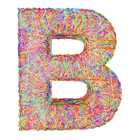composed: Alphabet symbol letter B composed of colorful striplines isolated on white. High resolution 3D image
