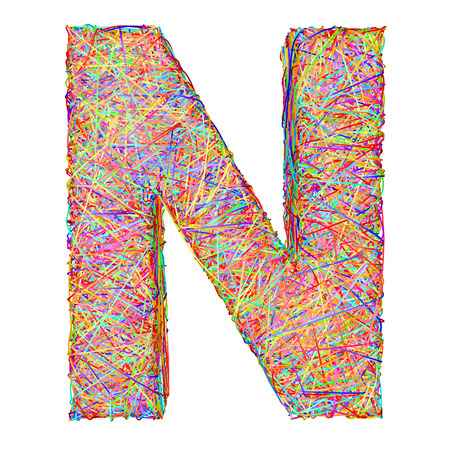 composed: Alphabet symbol letter N composed of colorful striplines isolated on white. High resolution 3D image