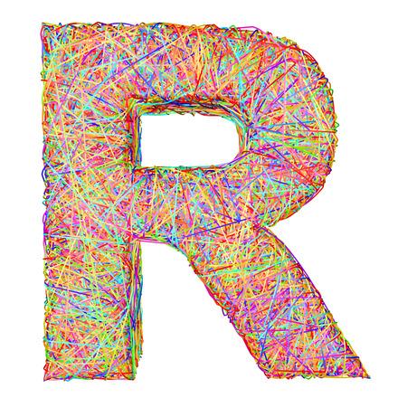 r image: Alfabeto simbolo lettera R composto da striplines colorati isolato su bianco. Ad alta risoluzione di immagini 3D Archivio Fotografico