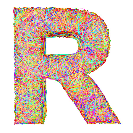 r image: Carta del alfabeto s�mbolo R compone de l�neas de cinta de colores aislados en blanco. Imagen 3D de alta resoluci�n Foto de archivo