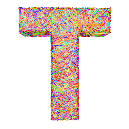 composed: Alphabet symbol letter T composed of colorful striplines isolated on white. High resolution 3D image