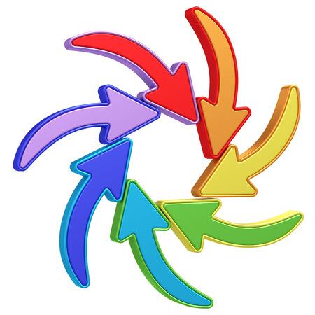 flechas curvas: Flechas de colores curvas que se�alan al centro sobre fondo blanco. Imagen 3D de alta resoluci�n